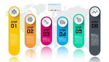 Business infographic med 6 steg.