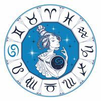 Cancer astrologiskt tecken som en vacker tjej. Zodiaken. Horoskop. Astrologi. Vektor.