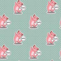 Seamless rosa katt säger hej mönster. vektor