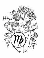 Sternzeichen Jungfrau ein schönes Mädchen. Horoskop. Astrologie. Färbung. Vektor.