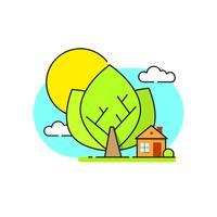Green House Logo Emblem På Vit Bakgrund vektor