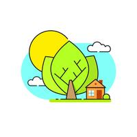Grünes Haus Logo Emblem Auf Weißem Hintergrund
