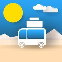 Bus reser världen vektor illustration Klar för din design, hälsningskort, banner