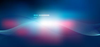 Abstrakt teknologi futuristisk nätverksdesign med partikelblå och rosa våg. Dynamiska partiklar ljudvåg som flyter på glödande prickar mörk bakgrund. vektor