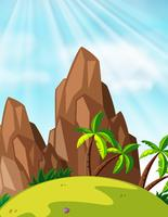 Scen med berg och kokospalmer