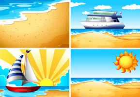 Naturscener med strand och hav vektor