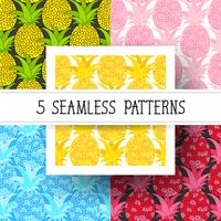 Ställ ananas sömlösa mönster. Tropisk bakgrund. Vektor illustration. Klar för din design, hälsningskort