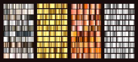 Große Sammlung bunte Farbverläufe. Metallische Farbverläufe bestehend aus Hintergründen. Vektor.