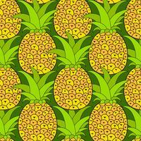 Ananas sömlösa mönster. Tropisk bakgrund. Vektor illustration.