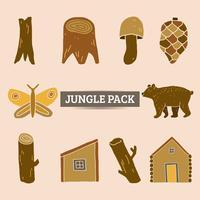 Dschungelelementsatzvektor und -illustration
