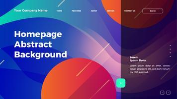 Homepage abstrakte Welle Hintergrund. Zielseitenvorlage mit Farbverlauf