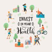 Vector tempale med människor som leder en aktiv hälsosam livsstil.