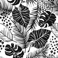 Abstraktes kreatives nahtloses Muster mit tropischen Anlagen und künstlerischem Hintergrund. vektor