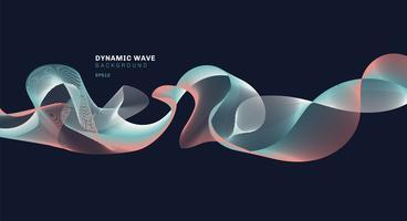 Abstraktes technolog mit dynamischen Wellen zeichnet auf dunkelblauem Hintergrund.