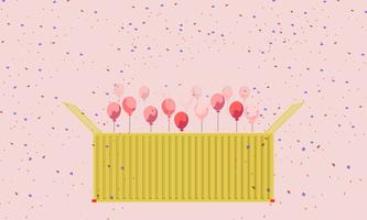 Buntes Geschenk-Behälterkastengelb und Herzballon-Vektorgrußkarte