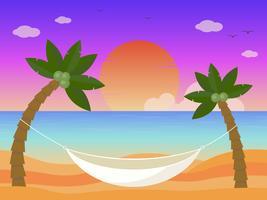 Sommerferien, Hängematte auf dem Strandvektor vektor