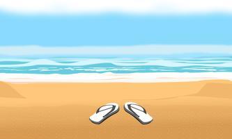 Bakgrund för sommarstrand och semester. Sandaler på sand vektor design illustration