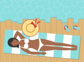 Sommerferien, nehmend neben dem Seevektor ein Sonnenbad