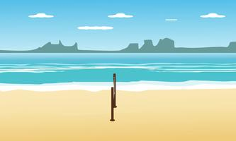Volleyboll på stranden i sommarlov och havsutsikt bakgrund. design vektor illustration