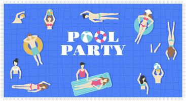 Pool-Party, Draufsicht Swimmingpoolvektor vektor