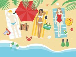 Sommerferien, ein Sonnenbad nehmend auf dem Strandvektor vektor