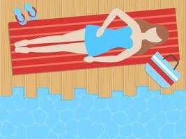 Sommerferien, nehmend neben dem Seevektor ein Sonnenbad vektor