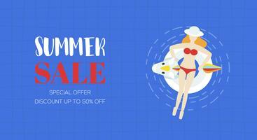 Sommerschlussverkauf-Plakat, Draufsicht Swimmingpoolvektor
