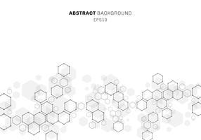 Abstrakte sechseckige Molekülstruktur des Neuronsystems. Digitaltechnikhintergrund mit Kopienraum. Zukünftige geometrische Vorlage.