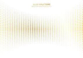 Abstraktes Kurvengold punktiert Musterhalbton auf Luxusartelementen des weißen Hintergrundes.