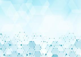Abstraktes Hexagonmustermolekül auf digitalem Konzept der blauen Hintergrundtechnologie mit Kopienraum. Geometrische Elemente für moderne Kommunikationen, Medizin, Wissenschaft und Technologie der Designschablone.