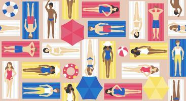 Ein Sonnenbad nehmen, verschiedene Leute auf Strandmattenvektor
