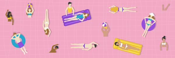 Sommerferien, Draufsicht Swimmingpoolvektor vektor