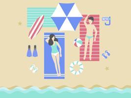 Sommerferien, ein Sonnenbad nehmend auf dem Strandvektor