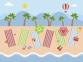 Sommerurlaub, Strandblick mit Strandausrüstung