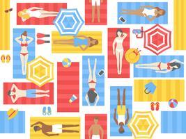 Solbadning sömlöst mönster, olika människor på strandmatta vektor