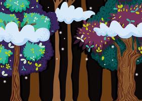 Vacker skog på natten