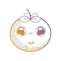 linje kawaii söt lycklig apelsin frukt vektor
