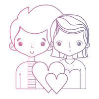 linje skönhet par tillsammans med frisyr design