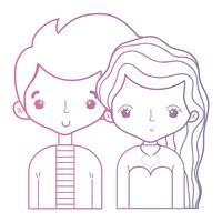 linje skönhet par tillsammans med frisyr design vektor
