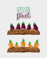 Farm pixelteckningar vektor