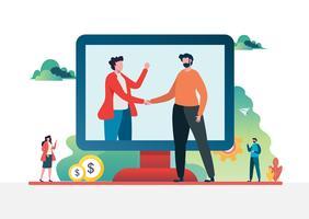 Handschlag des Geschäftsassistenten. Online-Finanzanlagen-Konzept. Vektor-Illustration.