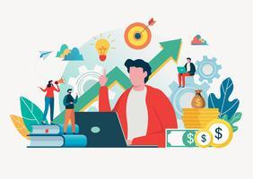Geschäftsleute schaffen Idee zum Erfolg. Teamwork-Konzept. Teambildung. Team-Metapher. Vektor-illustration