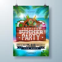 Vektor-Sommer-Strandfest-Flieger-Design mit tropischen Palmblättern und Versandelementen auf Ozean-Landschaftshintergrund. Sommerferien-Illustration mit Weinlese-Holz-Brett vektor