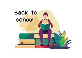 Willkommen zurück in der Schule. Flacher Karikaturillustrationsvektor