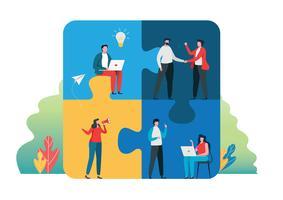 Teamwork erfolgreich zusammen Konzept. Leute, die das große Puzzlestück halten. Vektor-Illustration.