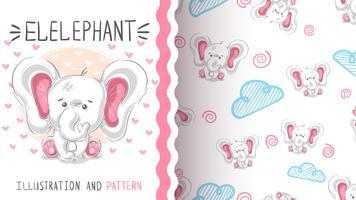 Gullig teddyelefant - sömlöst mönster