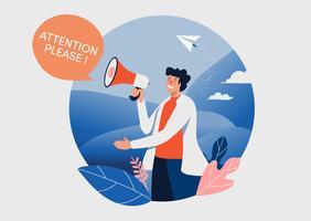 Mannen och megafonen med uppmärksamhet snälla ord. vektor illustration.