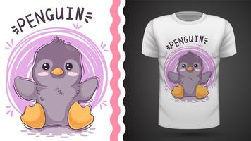 Gullig pingvin-idé för utskriftst-shirt.