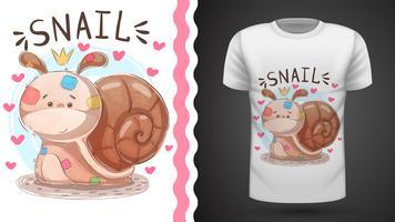 Teddy snail - idé för tryckt t-shirt vektor