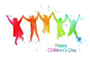 Aquarell von den glücklichen Kindern, die zusammen springen. Alles Gute zum Kindertag.